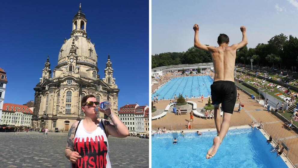 Carolin Tauscher dricker ur en vattenflaska utanför Frauenkirche i Dresden på bilden till vänster. En pojke hoppar från et 7,5 meter högt torn ner i en bassäng i Frankfurt på bilden till höger.