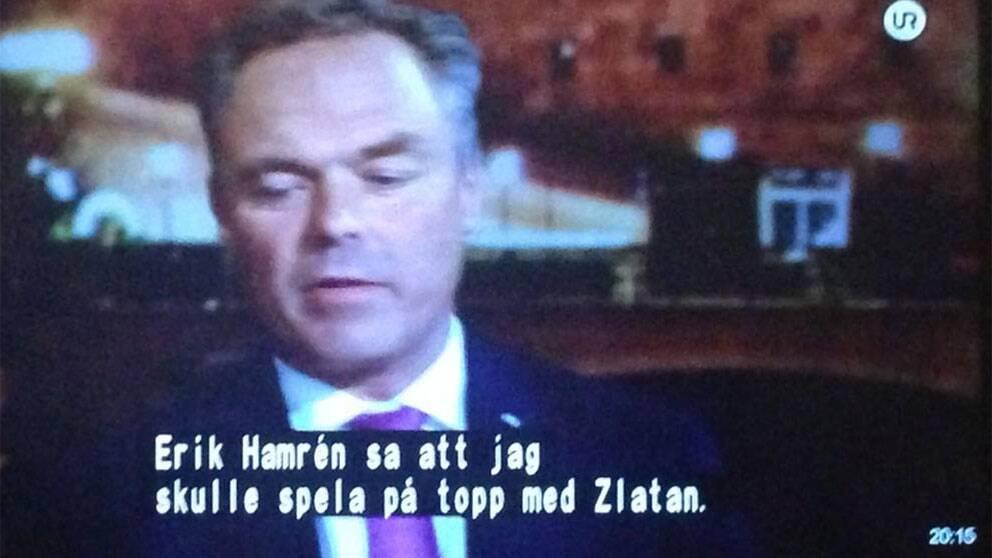 Jan Björklund i partiledardebatt – med något felaktig undertext.
