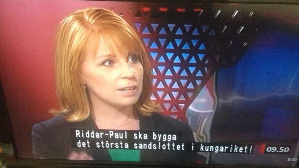 Annie Lööf i Gomorron Sverige – med något felaktig undertext.