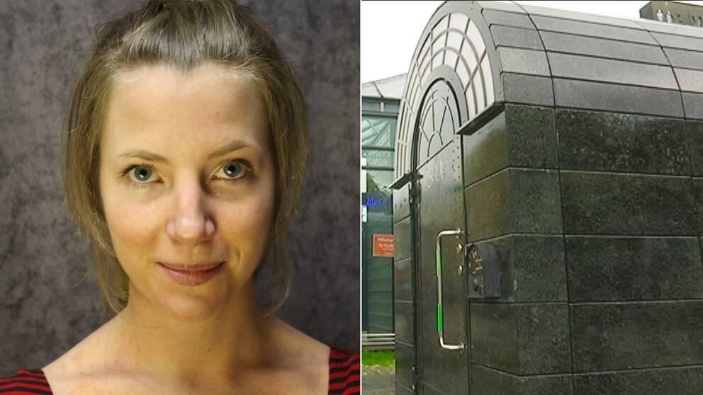 Delad bild, tv Stadsplaneraren Erika Sjöqvist, th en offentlig toalett