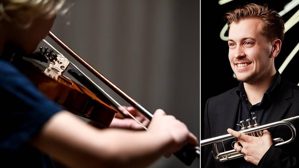 Trumpetaren Gustav Melander är en av Birger Sjöberggymnasiets tidigare elever.
