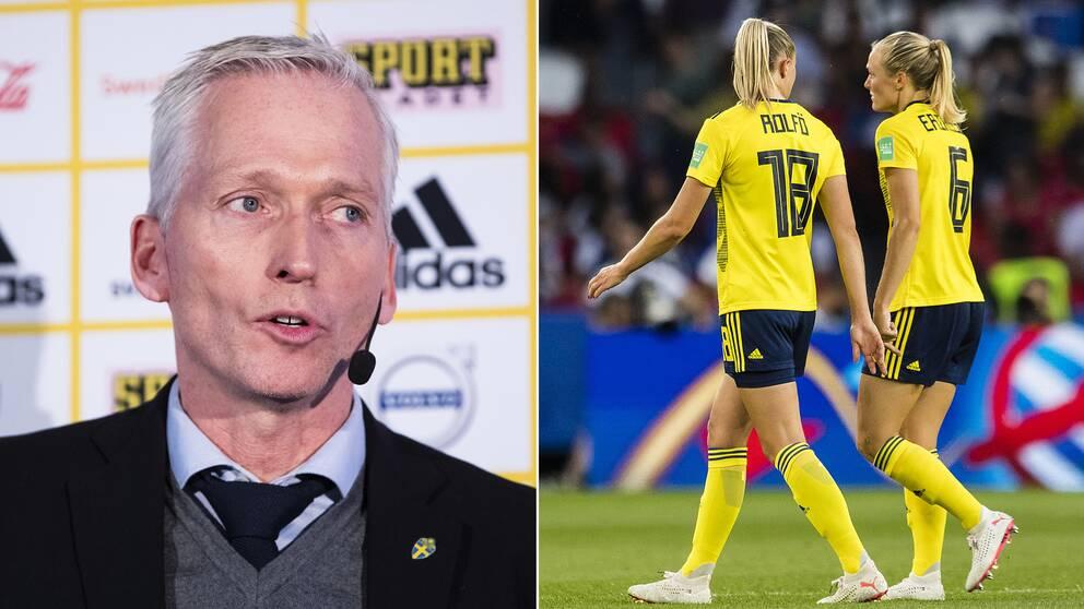 Håkan Sjöstrand tycker att gapet fortfarande är för stort mellan herr- och damfotboll.