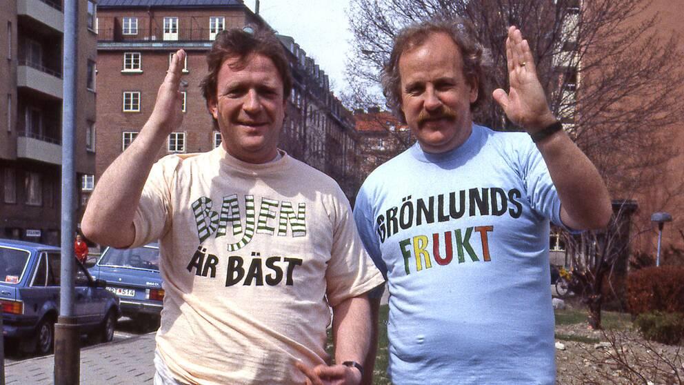 """""""Brasse"""" Brännström och Jon Skolmen i tv-underhållningen """"Nöjesmassakern"""" som började sändas 1985."""