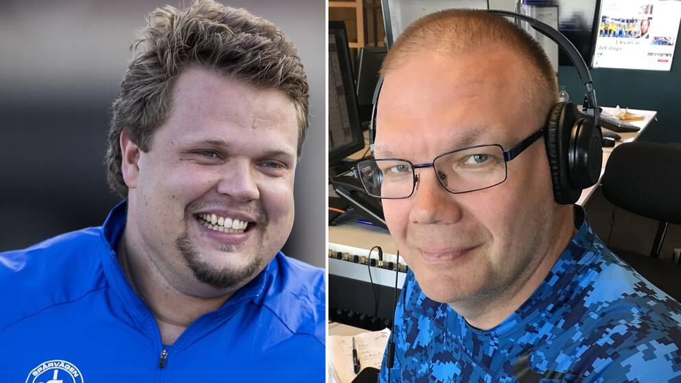 Daniel Ståhl och SVT:s reporter Jonathan Kvarnström.
