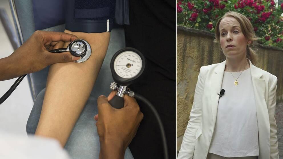 Till vänster: person som får sitt blodtryck mätt. Till höger: Madeleine Liljegren, ordförande för Sylf.