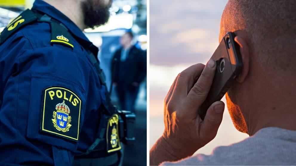 Polis. Man pratar i telefon.