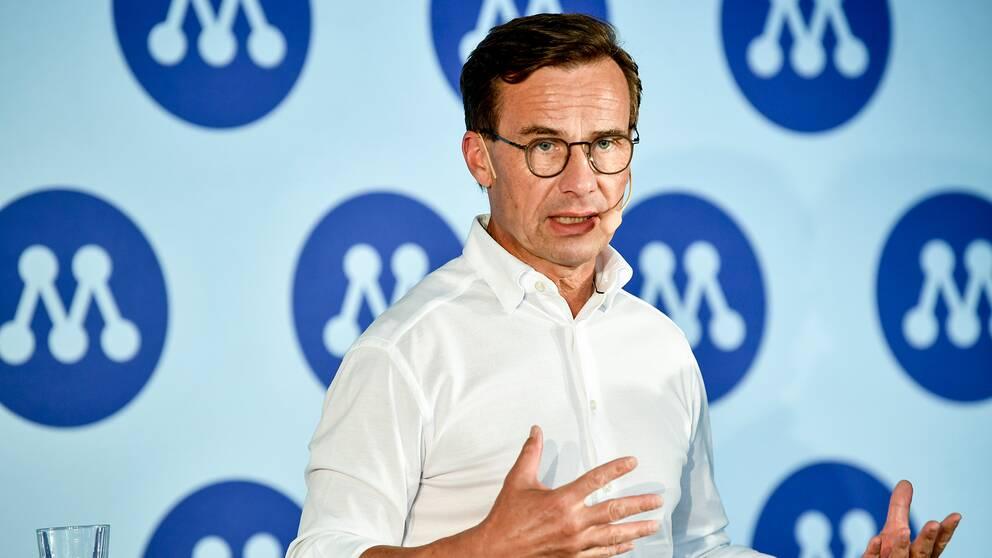 Moderaternas partiledare Ulf Kristersson håller pressträff under Moderaternas dag på politikerveckan i Almedalen.