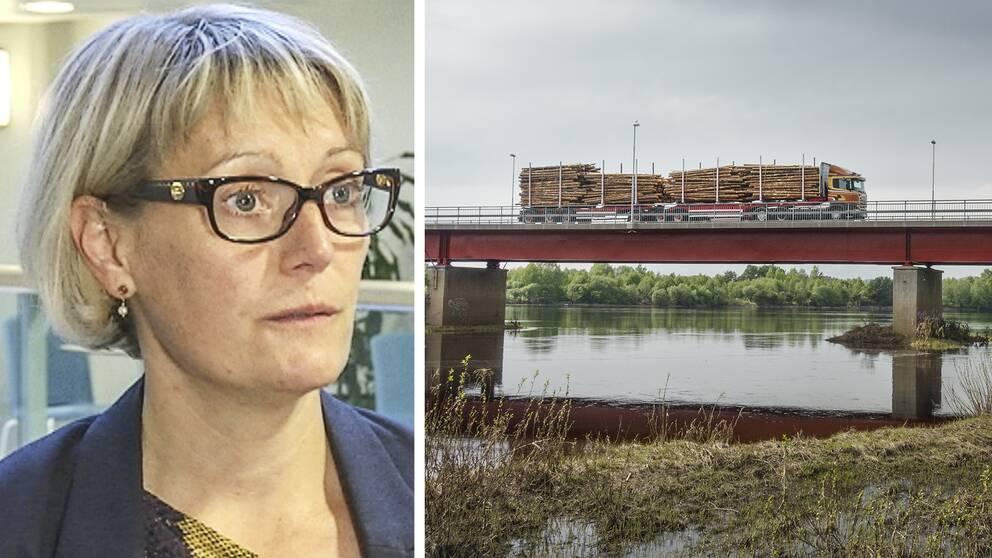 Catherine Kotake, regional direktör på Trafikverket och en 74-tonslastbil.