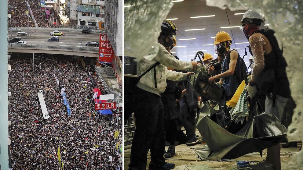 Demonstranter med hjälmar, skyddsglasögon och paraplyer krossade glaset och tog sig in i lagstiftande rådets byggnad i Hongkong.