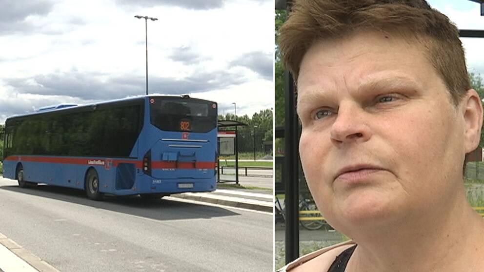 Bildmontage av två bilder. Till vänster en buss. Till höger kommunstyrelsens ordförande i Hällefors, Annalena Järnberg.
