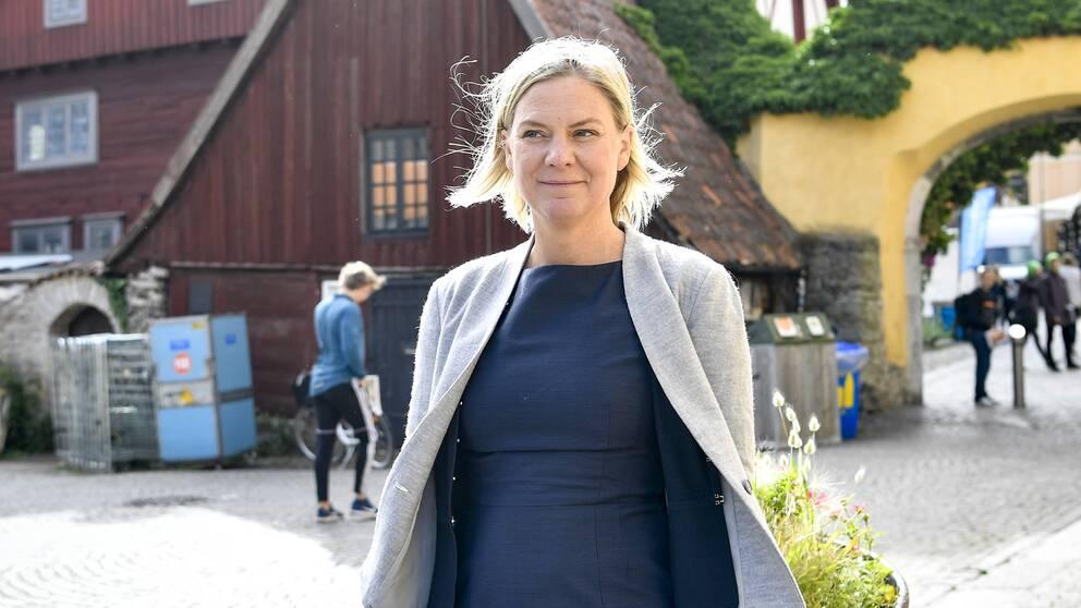 Finansminister Magdalena Andersson (S) under Socialdemokraternas dag på politikerveckan i Almedalen.