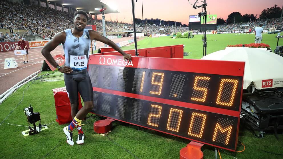 Noah Lyles slog till med en supertid på 200 meter under Diamond League-galan i Lausanne.
