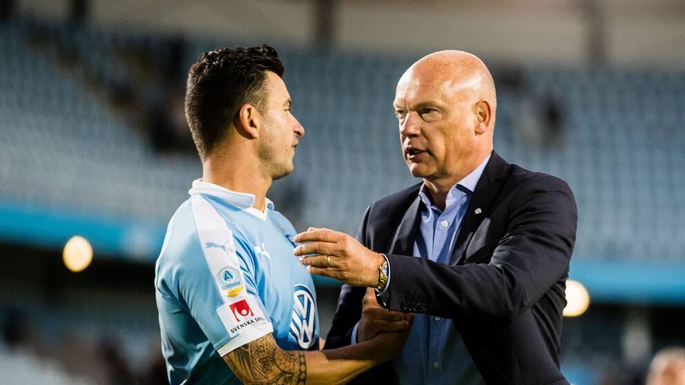 Malmö FFs Behrang Safari och tränare Uwe Rösler efter allsvenska mötet Malmö-Örebro.