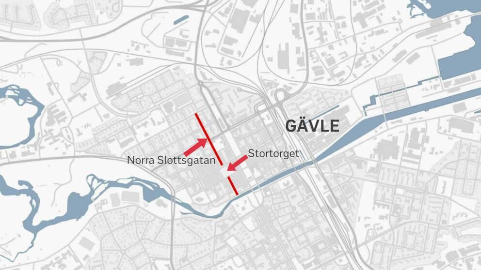 kartgrafik över centrala Gävle