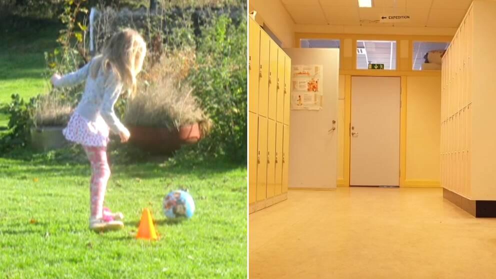 En flicka med en fotboll och en skolkorridor