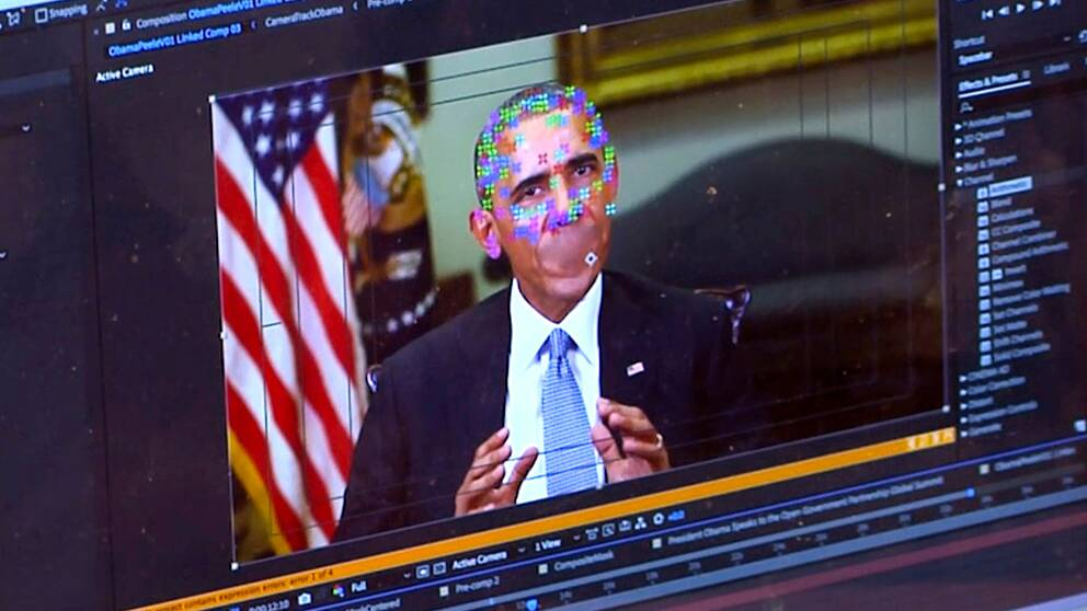 Deepfake-tekniken kan användas till att göra mnipulerade videos av politiska ledare som ser helt autentiska ut. På bilden manipuleras ett klipp med USA:s tidigare president Barack Obama.
