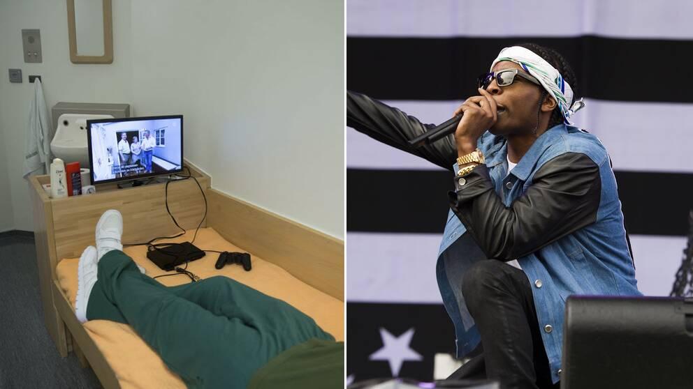Cell i Kronobergshäktet och rapparen ASAP Rocky.