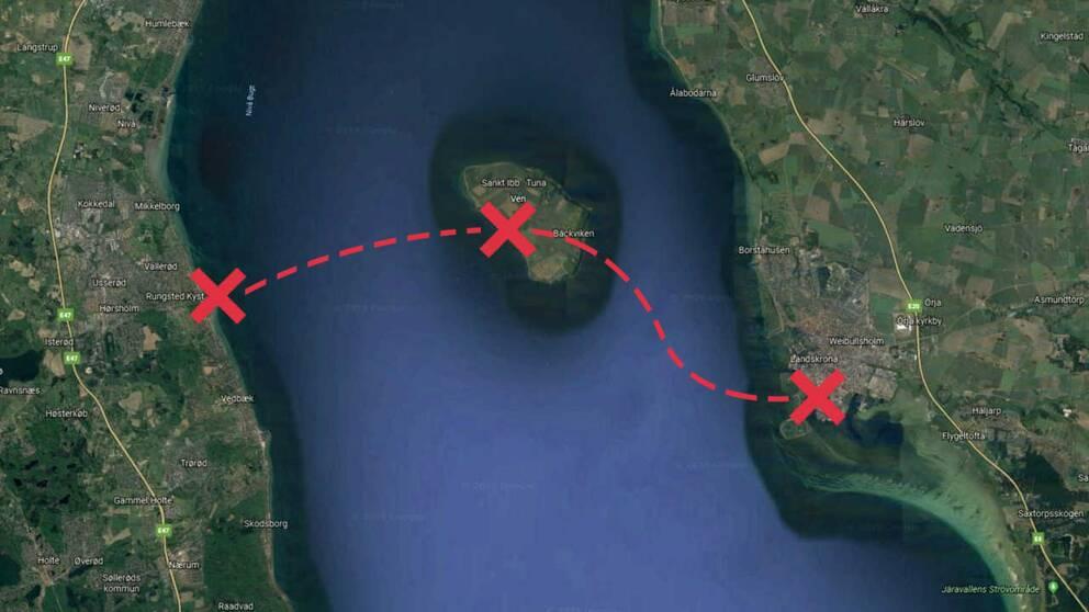 Kartbild över smugglarnas rutt från Danmark via Ven till Landskrona.