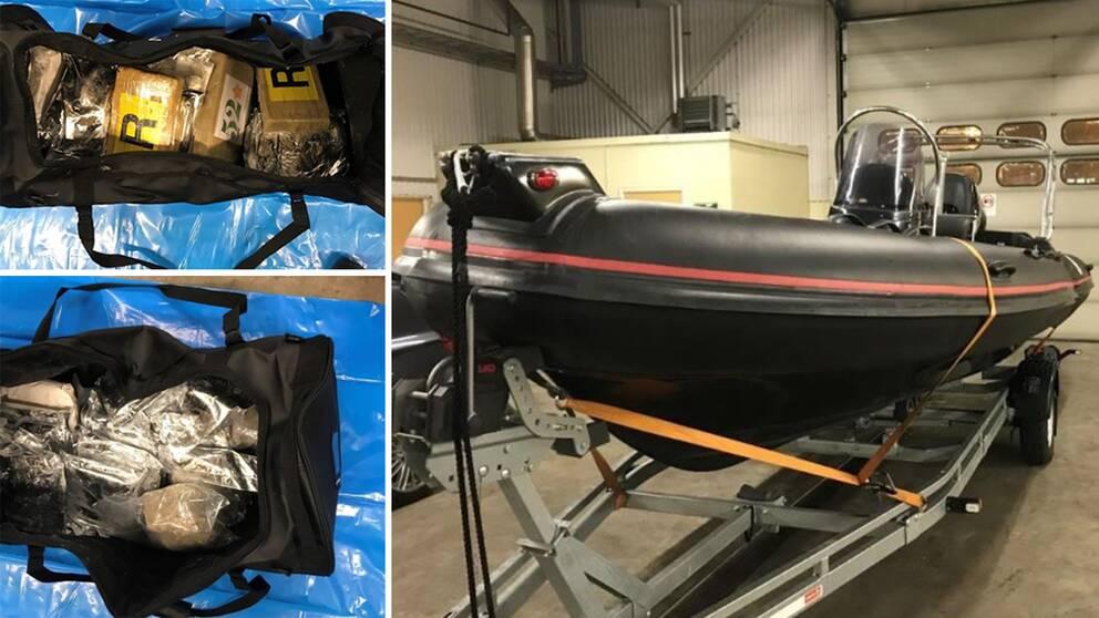Två svarta sportväskor innehöll nästan 40 kilo narkotika och fraktades med en snabbgående svart gummibåt.