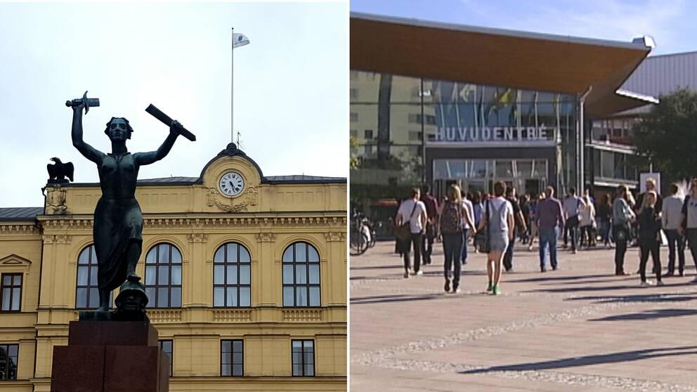 Collage. Fasaden av tingrätten i Värmland. Studenter utanför entré till Karlstads universitet.
