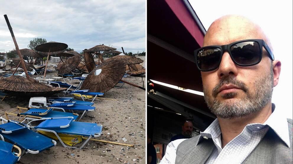 Förstörelse på strand, och Alexander Atessis.