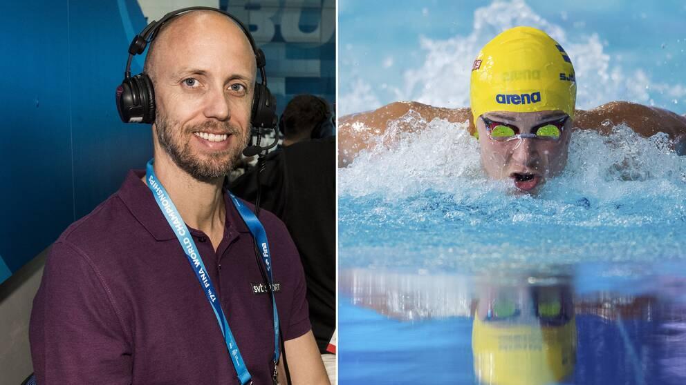 SVT Sports expert Lars Frölander och Sarah Sjöström.