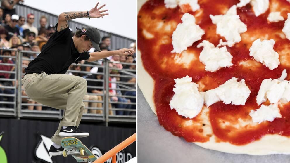 Gustavo Ribeiro och en pizza.