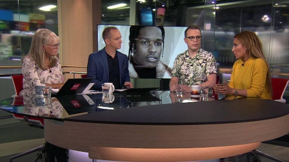Dennis Martinsson och Ametist Azordegan gästar Morgonstudion i SVT för att diskutera läget för rapparen ASAP Rocky.
