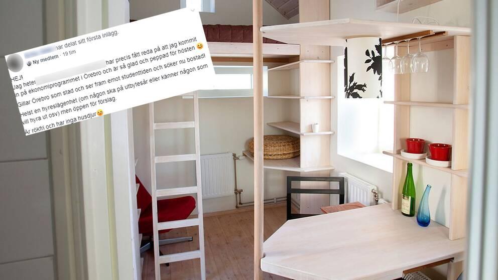 Bildmontage. En bild på ett studentrum och en bild på ett inlägg i sociala medier där en person efterlyser studentlägenhet.