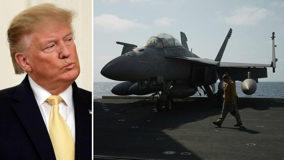 USA:s president Donald Trump till vänster. Till höger: ett stridsflygplan ombord på USS Abraham Lincoln under juni månad.