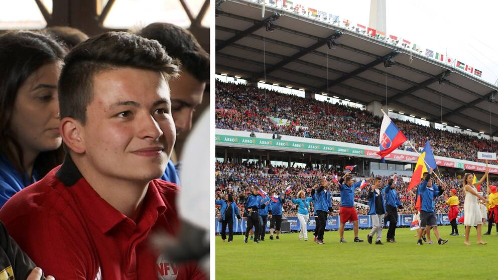 Porträttbild ung man. Fotbolls lag går in på gräsplan inför stor publik