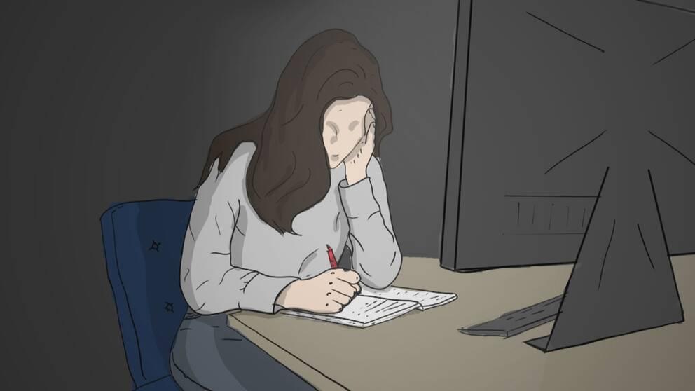 Flicka framför en dataskärm.