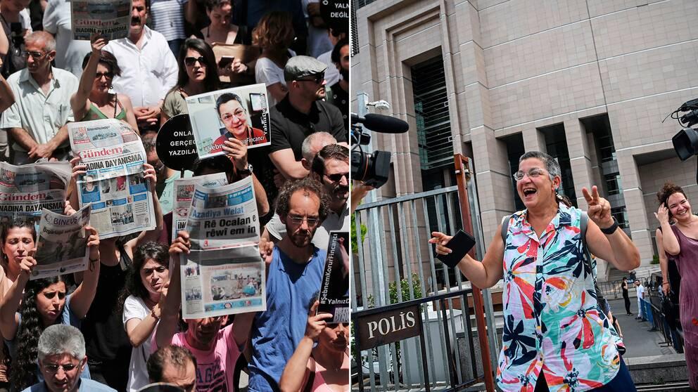 I veckan har demonstrationer hållits i Turkiet i protest mot åtalet. Till höger människorättsaktivisten ŞebnemKorur Fincancı när hon lämnar rättssalen under onsdagen.
