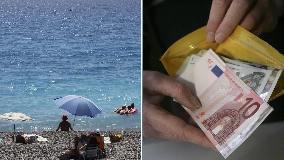Människor vid en strand i medelhavet, och ett Forex-kuvert med Euro-sedlar i.