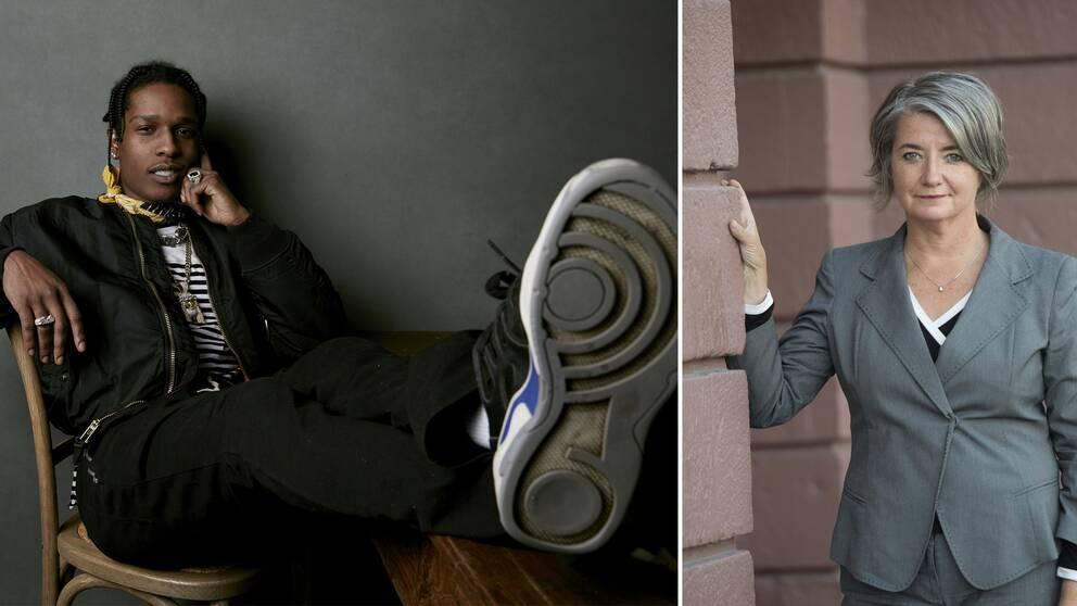 Till vänster: rapparen ASAP Rocky. Till höger: Sveriges USA-ambassadör Karin Olofsdotter.