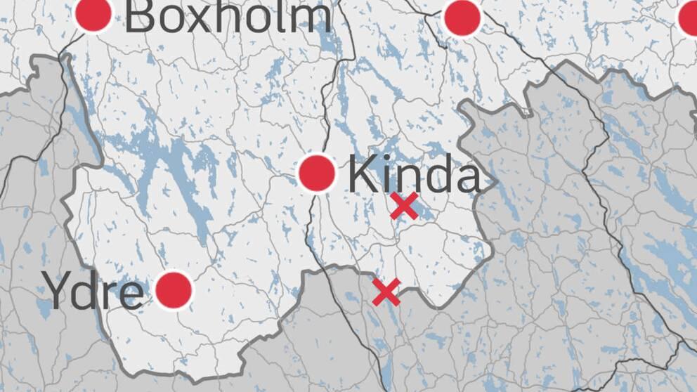 En karta med kryss som markerar var utsläppet finns.