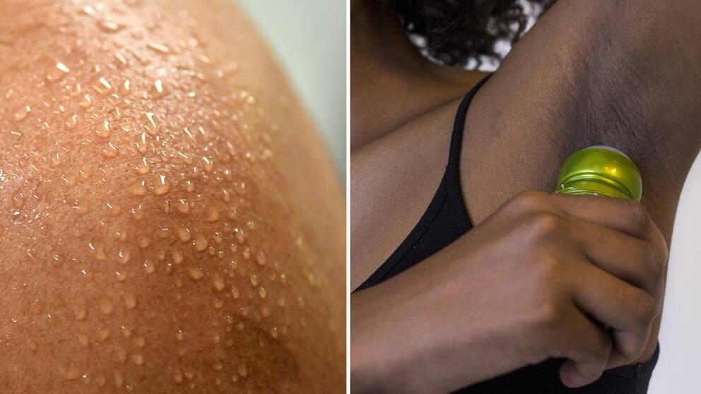 Svettig axel och kvinna som använder deodorant.
