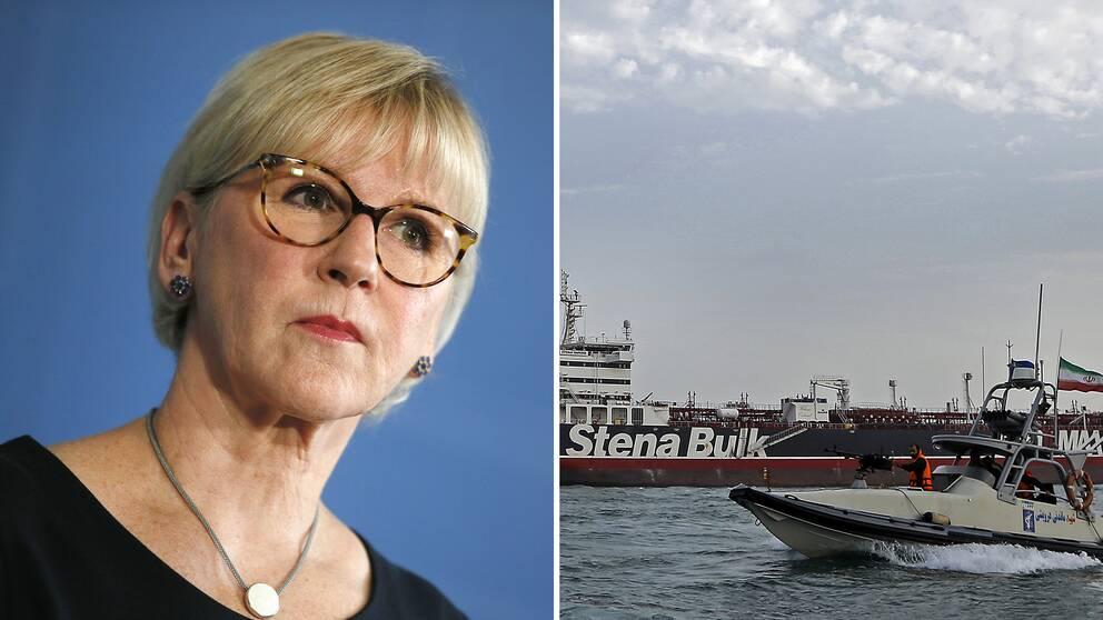 Utrikesminister Margot Wallström och båtar i Hormuzsundet.