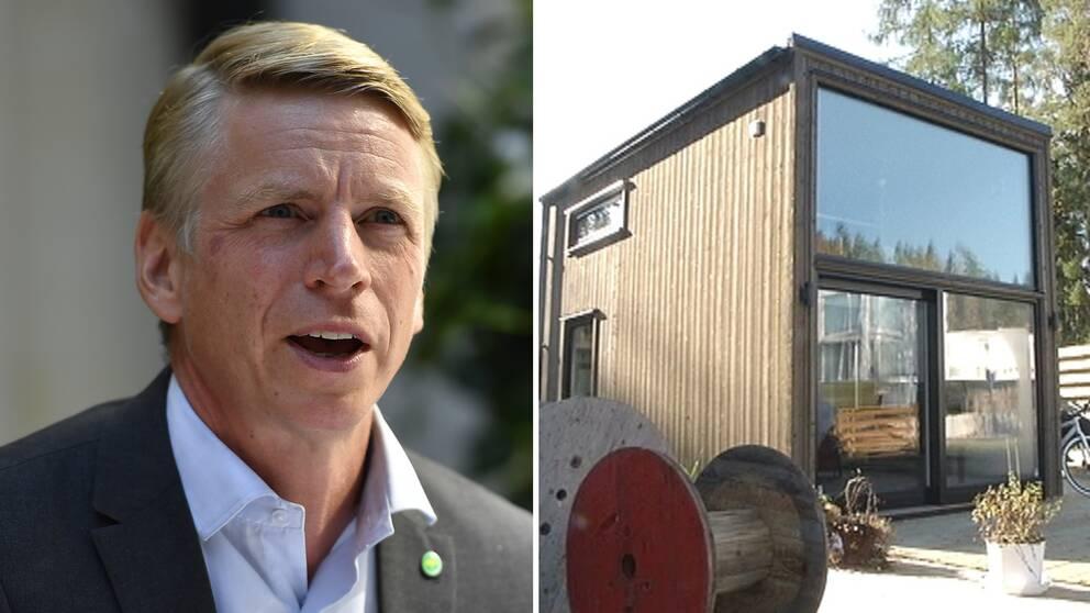Finansmarknads- och bostadsminister Per Bolund (MP) och ett attefallshus.