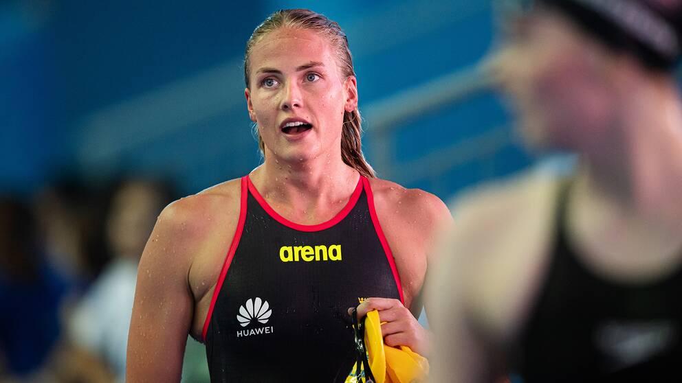 Michelle Coleman är tacksam över jämställdheten inom simningen.