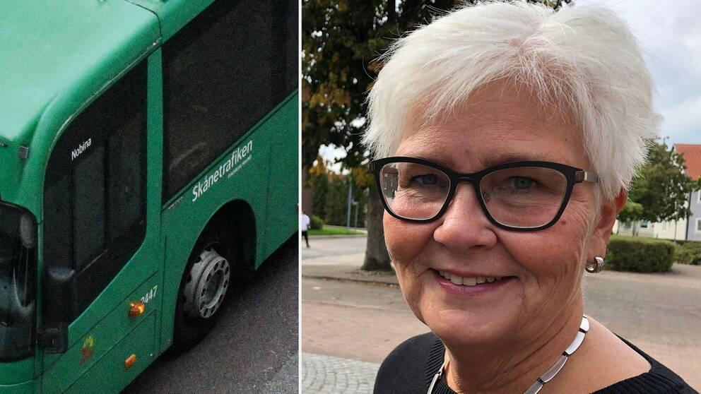 Carina Zachau (M), kollektivtrafiknämndens ordförande i Skåne. Bussen på bilden är inte kopplad till händelsen i artikeln.