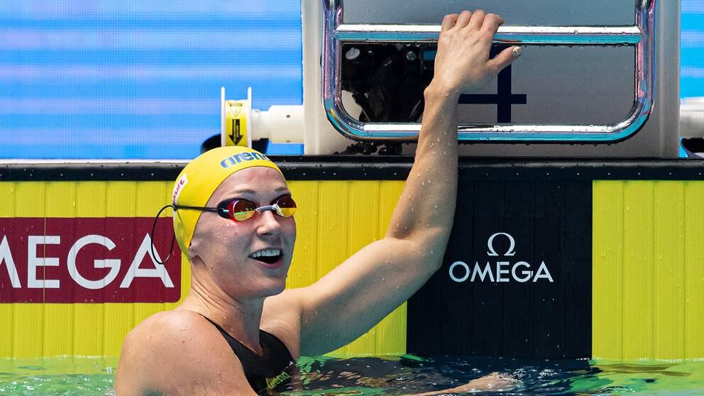 Sarah Sjöström tog silver på 50 meter frisim.