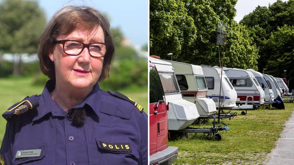 Ewa-Gun Westford, presstalesperson polisregion syd. Husvagnar på camping.