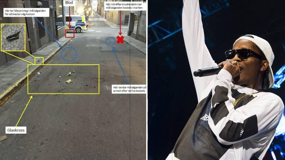 Till vänster bild från förundersökningen. Till höger bild på ASAP Rocky.