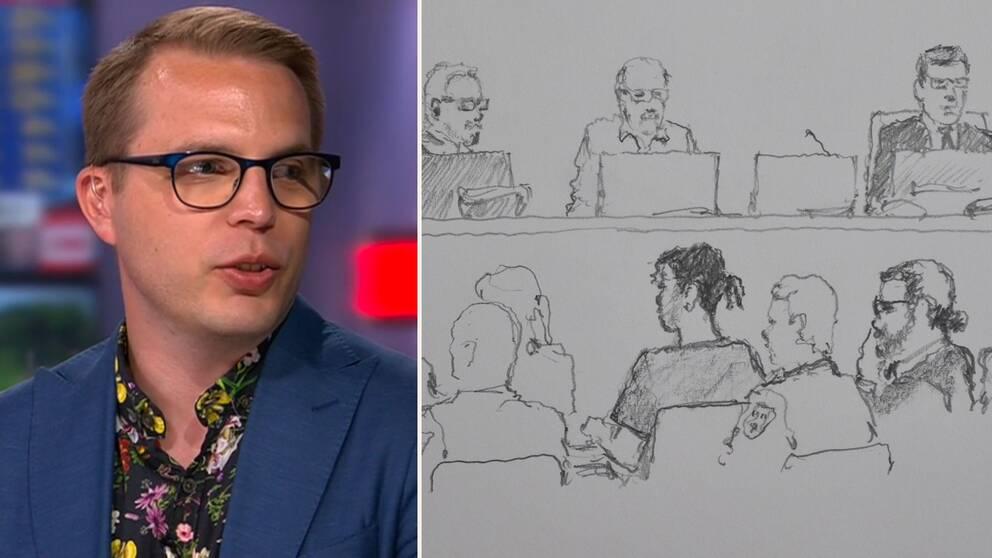 Dennis Martinsson, doktor i straffrätt, samt en teckning från rättgången