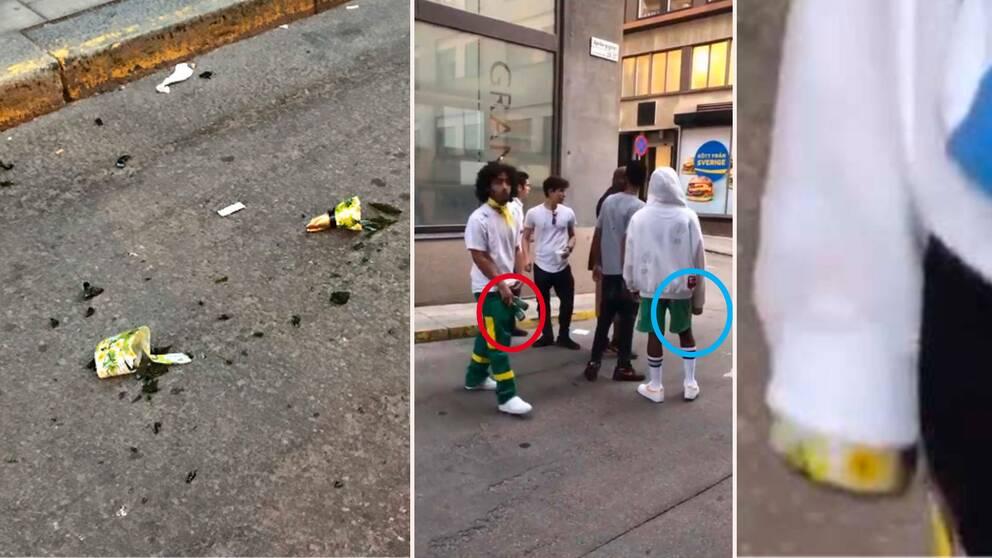 Bilder ur polisens förundersökning. På bilden syns flaskan krossad på marken, samt hur ASAP Rockys sällskap håller i flaskor, grafiskt inringade av polisen. Längst till höger ASAP Rockys ärm och vad polisen menar är botten till flaskan som senare krossas.