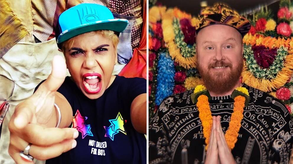 Till vänster: den indiska artisten Pragya Pallavi. Till höger: Rainbow Riots grundare Petter Wallenberg