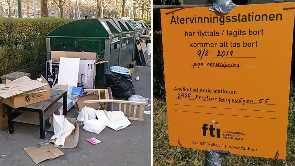 Skräpig återvinningstaion, skylt om att återvinningsstation stängs