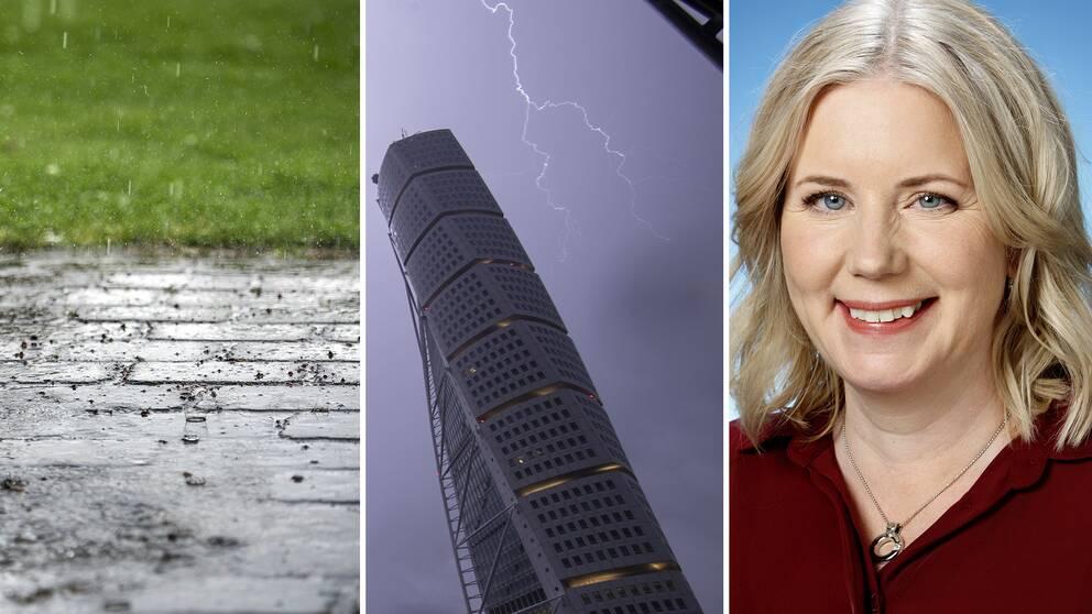 Kraftigt regn och åskskurar väntas under kvällen längs med Västkusten och sydöstra Norrland, berättar SVT:s meteorolog Åsa Rasmussen.