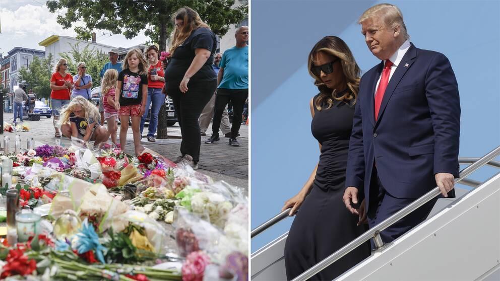 Människor lägger blommor vid en minnesplats i Dayton. President Donald Trump med hustru Melania Trump i Dayton Ohio